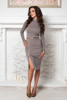 Трикотажное платье чулок с разрезом на молнии Angela Ricci со скидкой