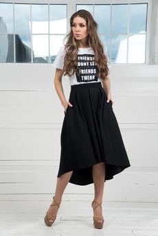 Черная юбка колокол с карманами Mondigo