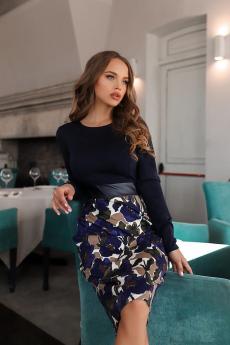 Новинка: темно-синее платье с кожаной вставкой Open-Style